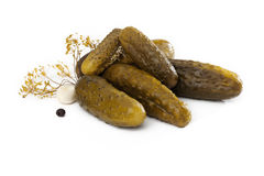 Composition of gherkins Stock Photos