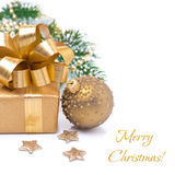 Composition gift box and Christmas ball,  Royalty Free Stock Images