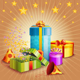 Composition Of Gift Box And Different Elements Stock Images