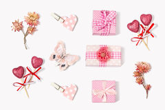 The composition of gifts to Valentines Day stock images