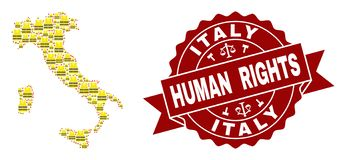Composition of Gilet Jaunes Protest Map of Italy and Human Rights Stamp Template royalty free illustration