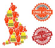Composition of Gilet Jaunes Protest Map of Liechtenstein and Strike Action Stamps stock illustration