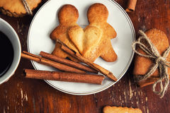 The composition of ginger biscuits, Stock Photos