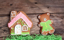Composition with gingerbread house and Royalty Free Stock Photos