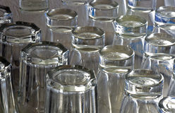 Composition with glass cups. AMPARO, SP, BRAZIL - FEBRUARY 9, 2016 - Cups of glass cheap in shelf of popular bar Royalty Free Stock Photos