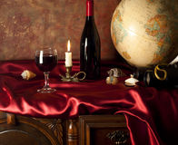Composition with a glass of red wine Stock Image