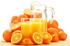 Composition with glasses of orange juice and fruits Stock Photo