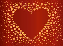 The composition of gold hearts. Valentine`s Day. Greeting card. Vector illustration. Red background Royalty Free Stock Photos