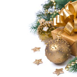 Composition with golden gift box and decorations, isolated Stock Images