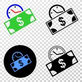Composition of Gradiented Dotted Banknote Credit Time and Grunged Stamp. Geographic collage of dotted banknote credit time and grunge seal. Mosaic vector vector illustration