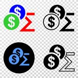 Composition of Gradiented Dotted Dollar Sum and Grunged Stamp royalty free illustration
