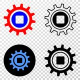 Composition of Gradiented Dotted Gear and Grunged Stamp. Geographic collage of dotted gear and grunge seal. Mosaic vector gear designed with square dots and royalty free illustration