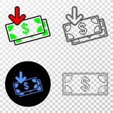 Composition of Gradiented Dotted Income Banknotes and Grunged Stamp. Geographic collage of dotted income banknotes and grunge stamp. Mosaic vector income royalty free illustration