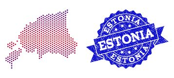 Composition of Gradiented Dotted Map of Estonia and Grunged Stamp vector illustration