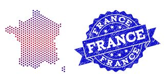 Composition of Gradiented Dotted Map of France and Grunged Stamp royalty free illustration