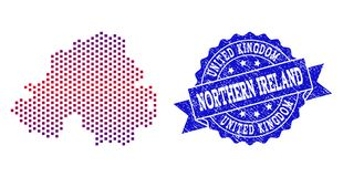Composition of Gradiented Dotted Map of Northern Ireland and Grunged Stamp royalty free illustration
