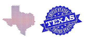Composition of Gradiented Dotted Map of Texas State and Grunged Stamp stock illustration