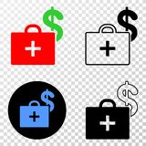 Composition of Gradiented Dotted Medical Business Case and Grunged Stamp. Geographic collage of dotted medical business case and grunge seal. Mosaic vector stock illustration