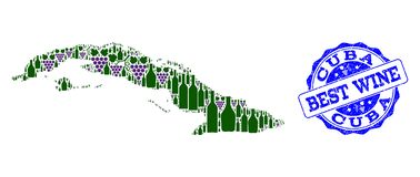 Composition of Grape Wine Map of Cuba Island and Best Wine Stamp royalty free illustration