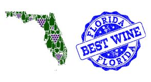 Composition of Grape Wine Map of Florida State and Best Wine Stamp vector illustration