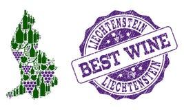 Composition of Grape Wine Map of Liechtenstein and Best Wine Stamp royalty free illustration
