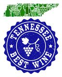 Composition of Grape Wine Map of Tennessee State and Best Wine Grunge Stamp royalty free illustration