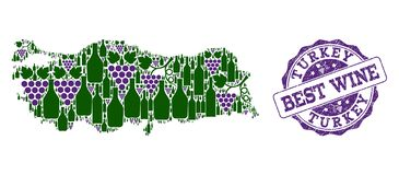 Composition of Grape Wine Map of Turkey and Best Wine Stamp vector illustration