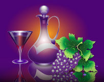 Composition from grapes, a jug and a glass. Illustration with  grapes, a jug and a glass Stock Photo