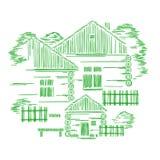 Composition graphique décorative en vecteur avec trois maisons en bois Le concept de la construction traditionnelle cological d'e illustration libre de droits