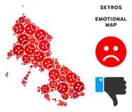 Composition grecque de carte d'île de Skyros de Dolor de vecteur d'Emojis triste illustration stock