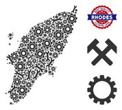 Composition Greek Rhodes Island Map of Industrial Tools stock illustration