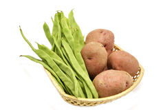 Composition of green beans and potatoes Royalty Free Stock Photo
