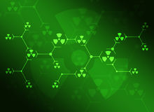 Composition of green lines and radiation signs Royalty Free Stock Photo