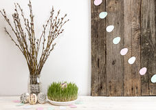 Composition for greeting card: Easter eggs, willow branch, grass Royalty Free Stock Image