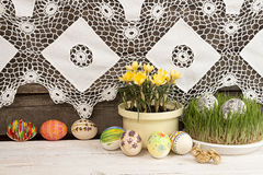 Composition for greeting card: Easter eggs, yellow crocus, grass Royalty Free Stock Photos
