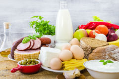 Composition grocery products dairy vegetables fruits meat Royalty Free Stock Photos
