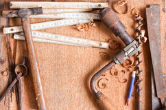 Composition of grundgy old hand tools Royalty Free Stock Photo