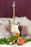 Composition with guitar and flowers Stock Photo