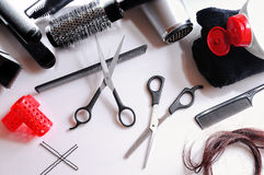 Composition hairdressing tools isolated top Royalty Free Stock Photo