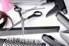 Composition hairdressing tools isolated top view stock image