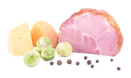 The composition from ham, cheese, Brussels sprout spaces Royalty Free Stock Images