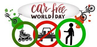 Composition of hand drawn lettering World Car Free Day with elements. Composition of hand drawn lettering World Car Free Day with decorative elements. Modern royalty free illustration