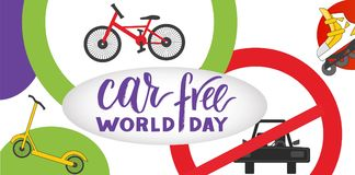 Composition of hand drawn lettering World Car Free Day with elements. Composition of hand drawn lettering World Car Free Day with decorative elements. Modern stock illustration