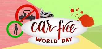 Composition of hand drawn lettering World Car Free Day with elements. Composition of hand drawn lettering World Car Free Day with decorative elements. Modern vector illustration