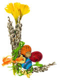 Composition of hand painted Easter eggs, flowers, catkins, daffo Royalty Free Stock Photos