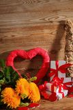 Composition with heart for all lovers. The heart is a symbol of love. Therefore, it is worth to give a card with this symbol I gift royalty free stock photos