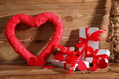 Composition with heart for all lovers. The heart is a symbol of love. Therefore, it is worth to give a card with this symbol I gift stock image