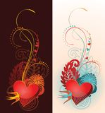 Composition of heart, floral ornament and martlet. Stock Image