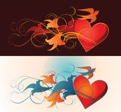 Composition of heart, floral ornament and martlet. Stock Photography