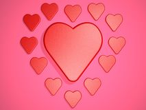 Composition with hearts on pink background. Digital illustration. 3d render. Graphic composition with hearts on pink background Royalty Free Stock Photos